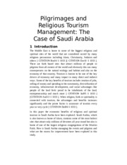 Pilgrimages and Religious Tourism Management