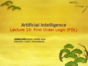 AI Spring 2010 Lecture 10