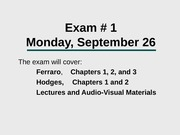 What to Review for the Exam, Sept.26