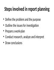 Steps involved in report planning
