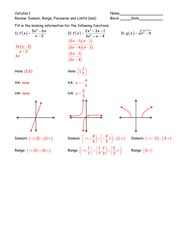 Review - Domain Range Piecewise and Limits -ans