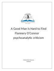 A Good Man Is Hard to Find -Flannery  psychoanalytic criticism.docx