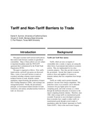 Tariff and Non-Tariff Barriers to Trade