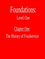 Foundations, Year One - learning resource from ProStart, YEAR 2, Chapter 1 (PowerPoint Presenation).