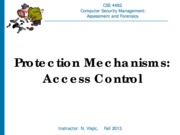 CSE 4482 2013 Protection Mechanisms Access Control