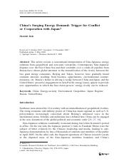 Chinas Surging Energy Demand - Trigger for Conflict or Cooperation with Japan