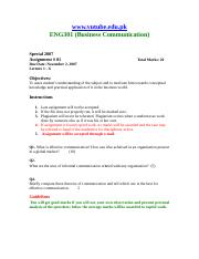 Business Communication - ENG301 Special 2007 Assignment 01.doc