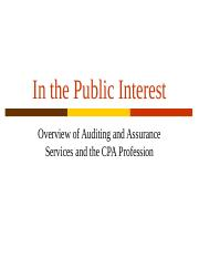 Overview of Auditing and the Profession 8-30 2012.ppt