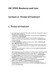 Lecture 6 -  Terms of Contract