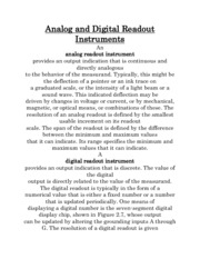 Analog and Digital Readout Instruments