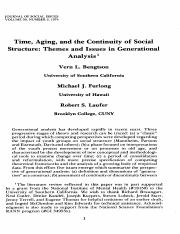 Bengtson, Furlong and Laufer--Themes and Issues in Generational Analysis