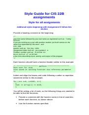 Style Guide for CIS 22B assignments