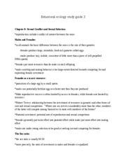 Behavioral ecology study guide 3