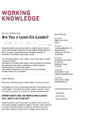 Are You a Level-Six Leader - HBS Working Knowledge