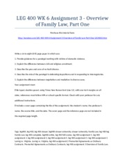 LEG 400 Week 6 Assignment 3 - Overview of Family Law, Part One - Strayer University NEW