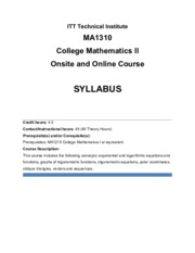 MA1310_One Course Model - Syllabus