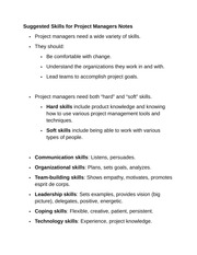 Suggested Skills for Project Managers Notes