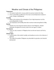 Weather and Climate of the Philippines