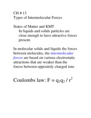 CH 13 LECTURE 1 INTERMOLECULAR FORCES