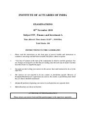 (www.entrance-exam.net)-Institute of Actuaries Of India-Subject ST5- Finance and Investment A Sample