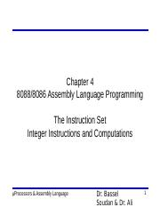 Chapter 4 - Integer Instructions and Computations