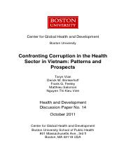 Confronting Corruption in Health Sector in VIETNAM