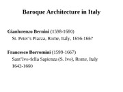 7ARCH2003 - Lect 15 - Baroque Italy