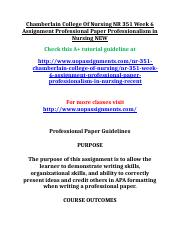 Chamberlain College Of Nursing NR 351 Week 6 Assignment Professional Paper Professionalism in Nursin