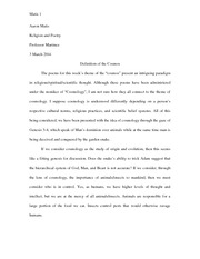 Importance of the Cosmos in Religious Studies Essay