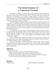 Experiment 02 The Determination of a Chemical Formula