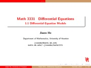 Differential Equation Models Review