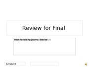 Review for Final Merchandisng entries