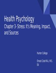 Health Psychology Chapter 3- Stress- It's Meaning Impact and Sources.pptx