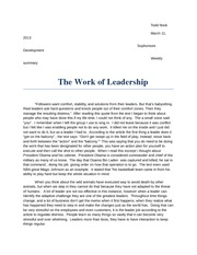 BUAD paper 4:The Work of Leadership