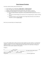 Thesis Statement Worksheet (Research)