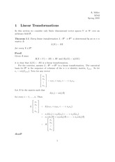 Math 541, 542 Linear Transformation Notes