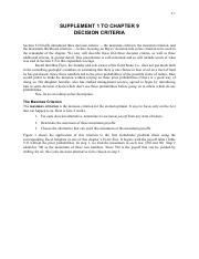 Chapter 09 Supplement 1 - Decision Criteria