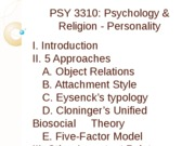 PSY 3310 - 12 - Personality - Outline