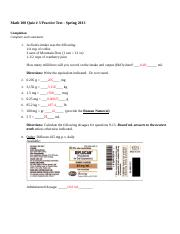 Math 100 Quiz 3 Summer 2013 (Practice Test with Answers).docx