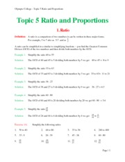 Topic 5 Ratio and Proportions