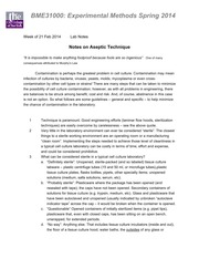 BME 310 2014 Module 3 Notes on Aseptic Technique