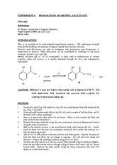 EXPERIMENT 6PREPARATION OF METHYL SALICYLATE
