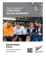 New Zealand Commonwealth Scholarship - Tertiary Application Form