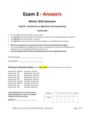 Winter 2012 Third Exam W: Solutions