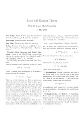 Math 126 Fermat Little Theorem and Euler Notes