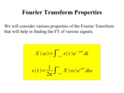 Fourier Transform Properties Notes