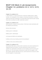 BSOP 330 Week 4 Lab Assignments Chapter 12, problems 12.1, 12.5, 12.9, 12.15