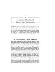 Chapter 16 Investment of Capital and Balance Sheet Segmentation