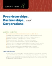 Chapter 8 Proprietorships, Partnerships, and Corporations
