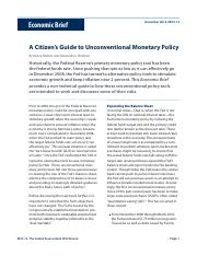 A Citizen's Guide to Unconventional Monetary Policy (R8),